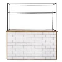 GRIGOR BUSINESS - Bar professionnel en acacia et carrelage blanc avec barre de suspension