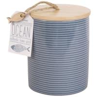 Barattolo in ceramica a motivi a righe, h 14 cm