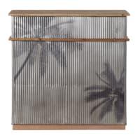 SANTA CRUZ - Barmeubel van massief dennenhout en grijs golvend metaal met palmprint