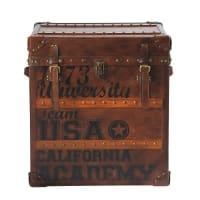 Baúl estampado de piel marrón An. 56 cm USA Stamps