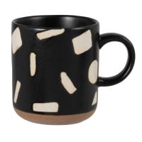 AELLE - Set aus 2 - Becher aus Steinzeug, schwarz mit ecrufarbenen grafischen Motiven