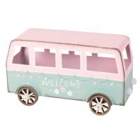Beeldje van minibusje in blauw en roze metaal L18 Beach