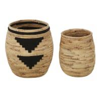 Beige and black plant fibre baskets (x2)