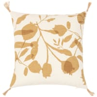 ALCALA - Beige and mustard yellow floral print organic cotton cushion cover 40x40cm