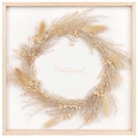 Beige and white dried flower wreath artwork 30x30cm