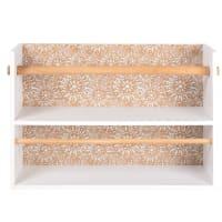 Beige and yellow eucalyptus kitchen roll holder rack