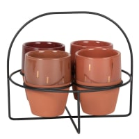 Beige, brick, brown and gold mugs (x4) with black metal stand