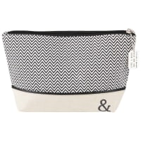 Beige Cotton Toiletry Bag with Black and White Graphic Motifs