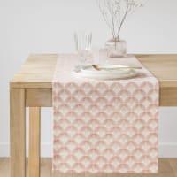 Beige en goudkleurige katoenen tafelloper 40x150 Aniba