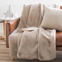 MIRANDA - Beige Faux Fur Blanket 150x180
