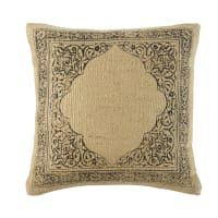 Beige Jute and Cotton Cushion with Black Print 45x45 Mara