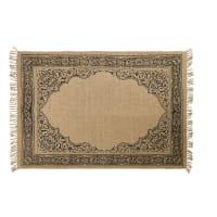 Beige tapijt van jute met zwarte print 140x200 Mara