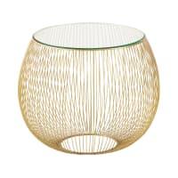 Beistelltisch aus Glas und goldfarbenem Metalldraht Barbara