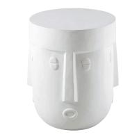 FASSIA - Beistelltisch mit geschnitztem Gesicht aus Glasfaser, weiß