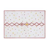 EVA - Berber rug in ecru, pink and mustard yellow cotton print 120x180cm