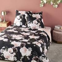 Bettwäschegarnitur aus Baumwolle, schwarz mit Blumenmuster 220x240 Alba