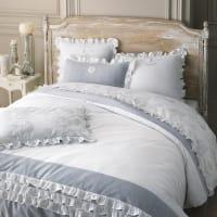 Bettwäschegarnitur  aus Baumwolle, weiß, 220x240 Raphael