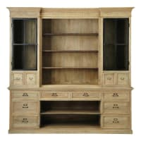 Bibliothèque 12 tiroirs 2 portes en manguier Naturaliste