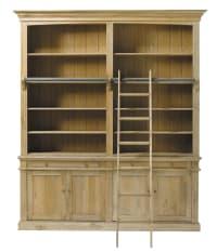 Bibliothèque 2 tiroirs 4 portes avec échelle en chêne Atelier
