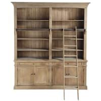 Bibliothèque 2 tiroirs 4 portes et échelle en pin recyclé Aristote
