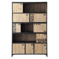 Bibliothèque indus 5 portes en sapin et métal noir Docks
