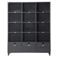 Bibliothèque indus 6 tiroirs en métal noir Edison
