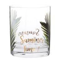 Bicchiere in vetro con stampe a palme