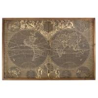 ROCOCO - Bild aus Tannenholz und Bambus mit aufgedruckter Weltkarte, 140x93cm