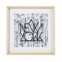Bild mit Druckmotiv New York aus Paulownienholz 40x40 Atelier Hype