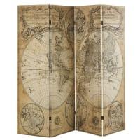 Biombo con impresión de mapa antiguo Explorateur