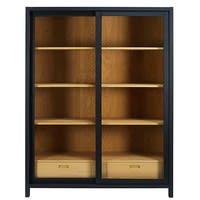 Black 2-drawer display case Nepaya