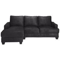 PHILADELPHIE - Black 3/4 Seater Microsuede LHF Corner Sofa