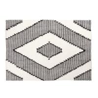 Black and Ecru Woven Cotton Rug with Graphic Print 140x200 Chenoa