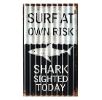 Black and White Decorative Plaque 33x55 Surfing