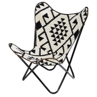 Black and white patterned kilim armchair Palmyre