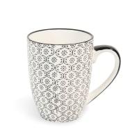 CHIANG MAI - Set of 2 - Black and White Printed Earthenware Mug