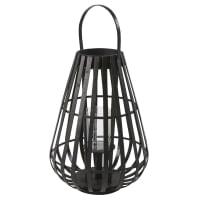 Black Bamboo and Glass Lantern H55 Bamako