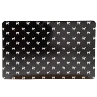 Black Cat Food Bowl Mat with White Print 43x32