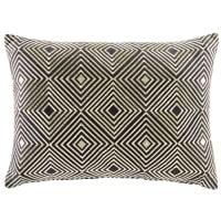 Black Cotton Cushion with Golden Graphic Motifs 35x50