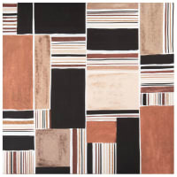 HIPPOLYTE - Black, grey, camel and taupe canvas 70x70cm