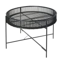 Black Metal and Woven Bamboo Side Table Reyes