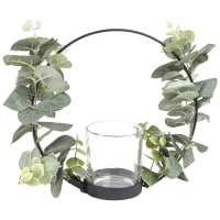 Black Metal Candle Holder with Leaf Garland Fiora