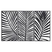 Black Metal Palm Tree Leaf Triptych 144x90 Tobago
