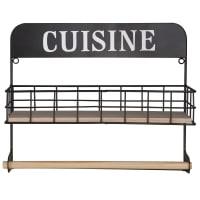 CUISINE - Black Metal Shelf and Kitchen Roll Holder