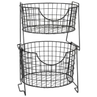 Black Metal Wire Kitchen Storage Basket