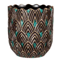 PEACOCK - Black stoneware planter with teal and gold textured design H16cm