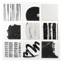 OPHELIE - Black, white and grey painted canvas 70x70cm