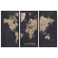 Black World Map Triptych Frame 180x120 Explore