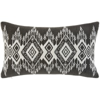 Black Woven Cotton Cushion with Graphic Print 30x50 Jolan