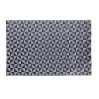Blauer Outdoor-Teppich mit weißen grafischen Motiven 180x270